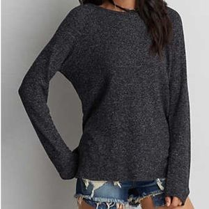 American Eagle Soft & Sexy Plush Crew Charcoal
